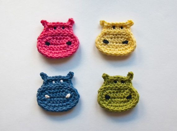 PDF Crochet Pattern - Hippo Applique (Quick and Easy) - Text instructions and SYMBOL CHART instructions - Permission to Sell Finished Items. $2.99, via Etsy.