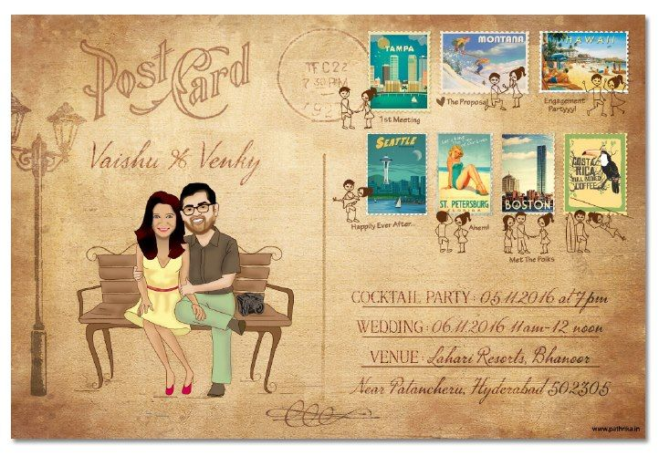 wedding invitations with caricatures of bride and groom