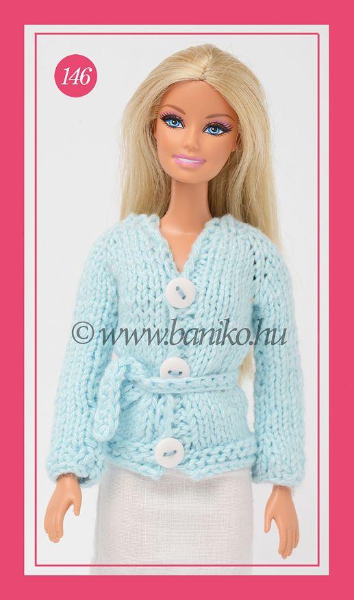 Világoskék kötött Barbie kardigán