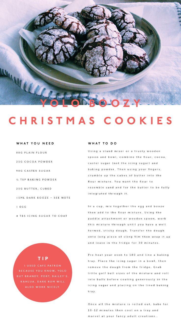 Holly Anderson, aka The Wandering Matilda, is a globe-trotting kitchen wizard who is here to make all your Christmas dreams come true with these boozy Christmas cookies. Crank the Christmas tunes, whip out the Cafe Patron—because YOLO—and mix yourself up a batch of these bad boys. You could also give them away as presents, but you'll want to make a few extra for yourself too!