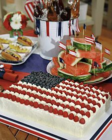 This beautiful flag sheet cake makes a festive addition to a patriotic-themed party. This recipe was adapted from Martha Stewart Living, July 2001.