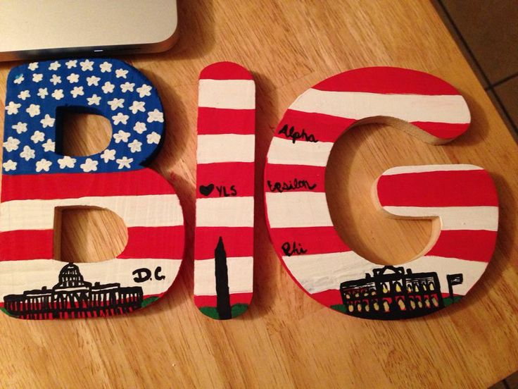 Sorority craft for big little!!!  Hand-painted wooden letters with D.C.'s iconic landmarks for my Big! Alpha Epsilon Phi style!  #biglittle #aephi #alphaepsilonphi #sorority #sororitycrafting #crafts #letters #greek