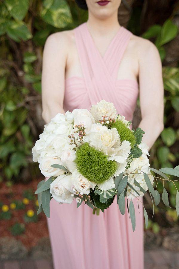 Peach, white and green bridesmaid bouquet    #wedding #weddingday #aislesociety #bridesmaid #bouquet