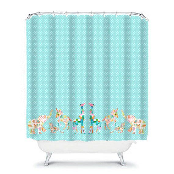 Blue Shower Kids Shower Curtain Elephant Shower Blue Bathroom