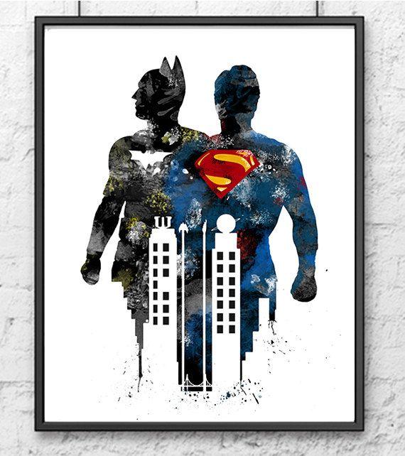 Batman vs Superman Watercolor Print, Batman Art, Superman Art, Movie Poster, Superhero Print, Home Decor, Kids Room Decor - 356
