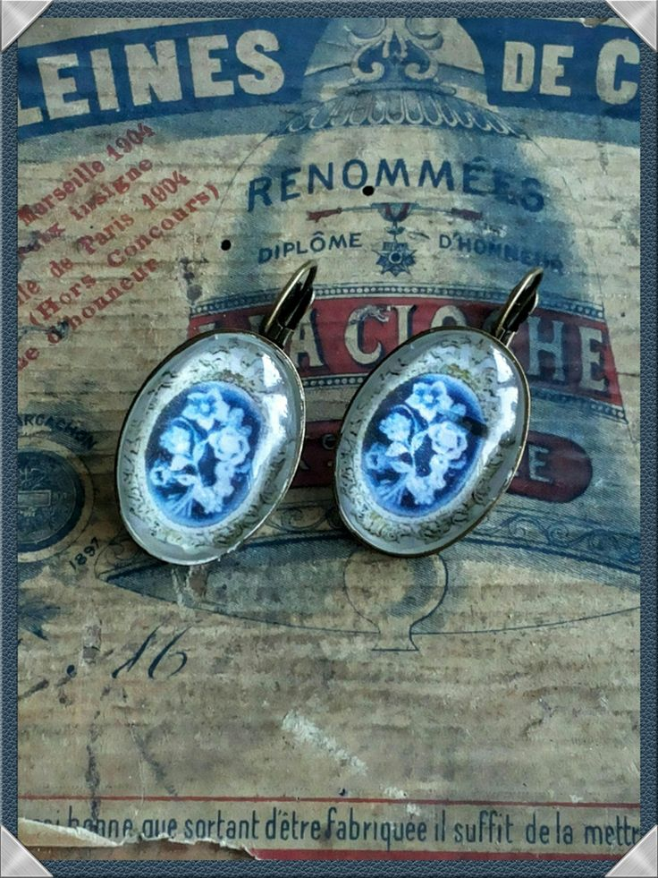 Handmade victorian-style cabochons blue and white earrings by AnnasHaberdashery on Etsy