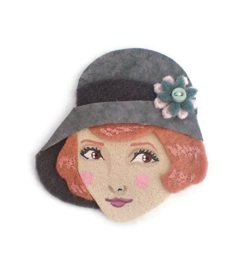 Yalipaz - Twenties Flapper Felt Brooch Art Brooch