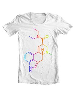 LSD molecule t-shirt. EU: http://moleculestore.spreadshirt.net/-A24426183 US: http://moleculestore.spreadshirt.com/-A12600414 Lysergic acid diethylamide, abbreviated LSD or LSD-25, is a semisynthetic psychedelic drug, well known for its psychological effects which can include altered thinking processes, closed and open eye visuals, synaesthesia, an altered sense of time and spiritual experiences, as well as for its key role in 1960s counterculture. LSD is non-addictive, is not known to cause…