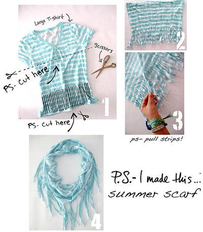 Make a scarf from`a T-shirt: Ideas, Summer Scarves, T Shirts Scarves, Summer Scarfs, Old Shirts, Tshirt, Diy, Crafts, Old T Shirts