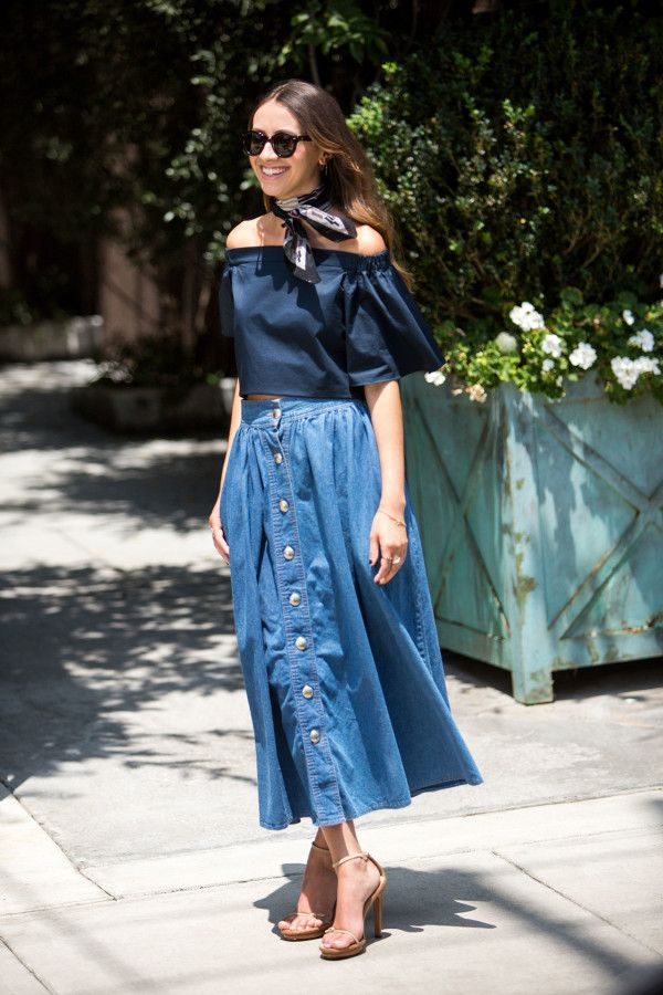 off-the-shoulder, denim midi & scarf. NYC.