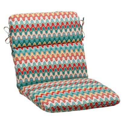 Outdoor Rounded Chair Cushion - Red/Turquoise Chevron - Target