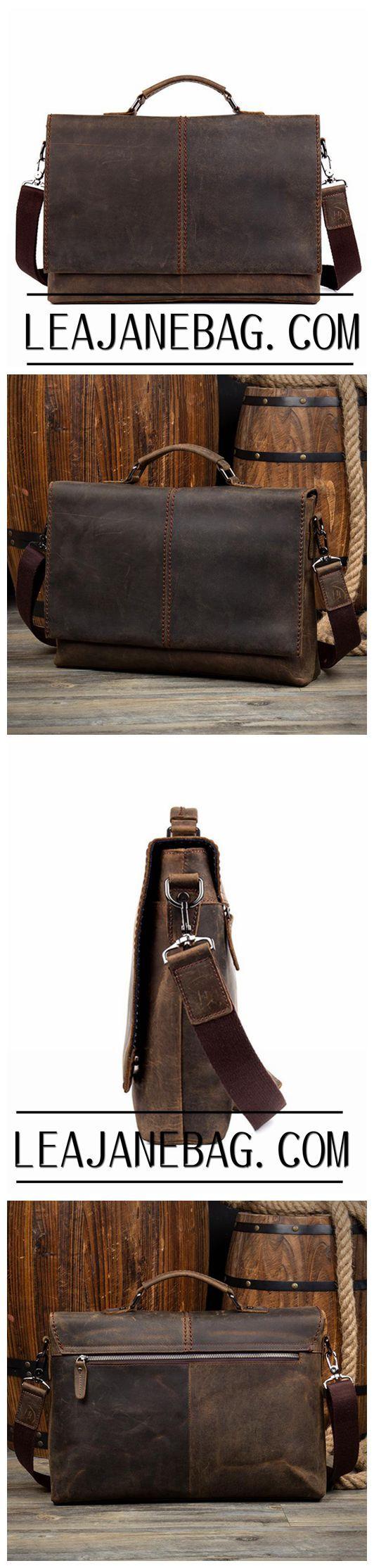 Leather Messenger Bag, Leather Briefcase, Laptop Business Bag, Genuine Brown Leather Bag MS039