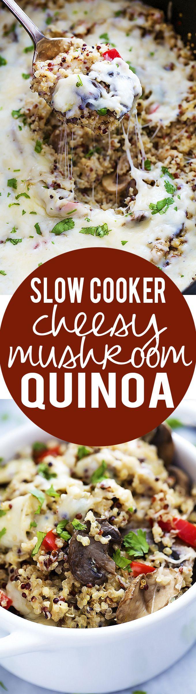 Slow Cooker Cheesy Italian Mushroom Quinoa | Creme de la Crumb