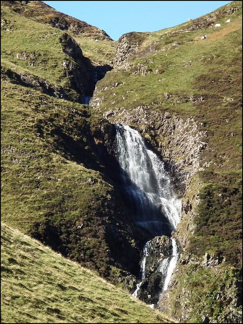 The Grey Mare's Tail is a spectacular waterfall with a drop of 61m (200 ft). The whole area around these falls belongs to the National Trust for Scotland and is rich in wild flowers.