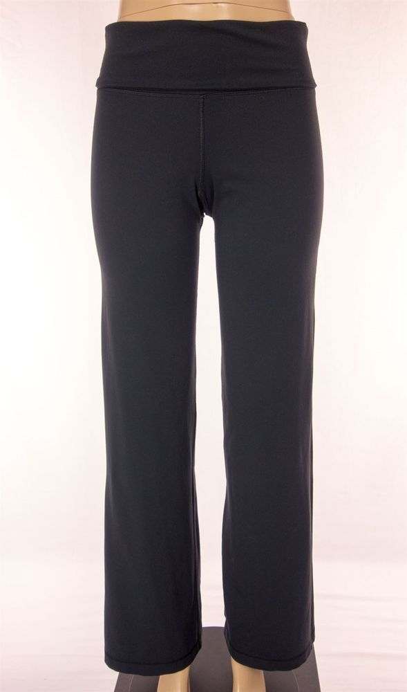 LULULEMON Wide Leg Pants Size 6 Reg S Small Black Fold Over High Waist Yoga #Lululemon #PantsTightsLeggings