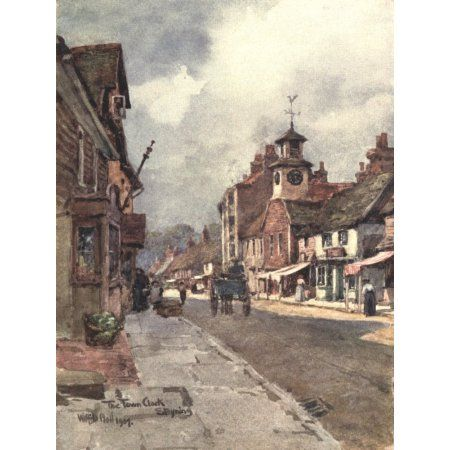 Sussex 1906 Town Clock Steyning Canvas Art - Wilfrid Ball (18 x 24)