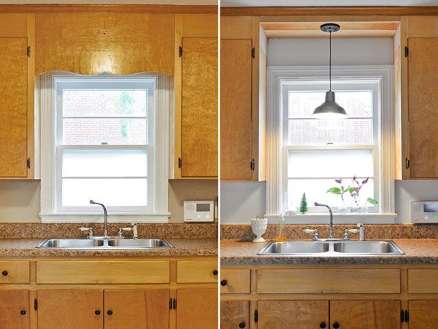 Remove decorative wood over kitchen sink and install pendant fixture instead of pot light that's there now