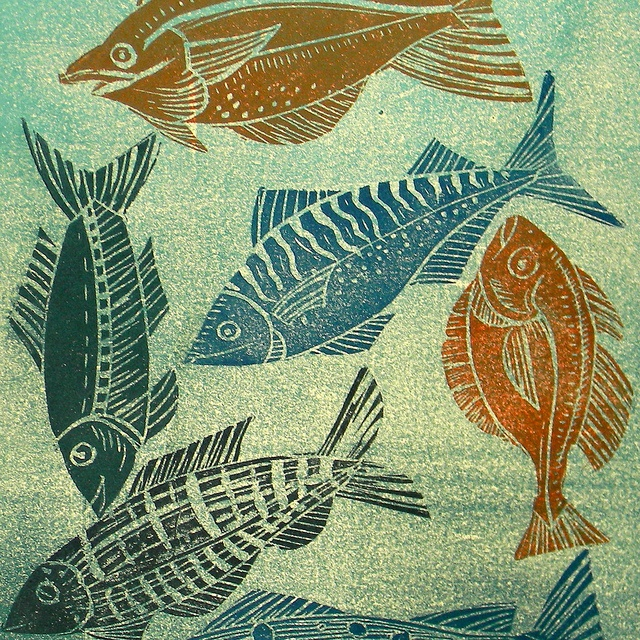 fish lino print 011 by Mangle Prints, via Flickr