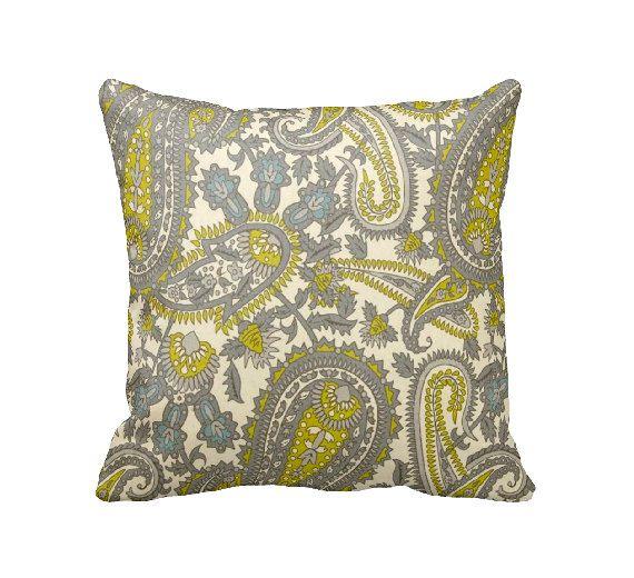 Paisley Pillow Cover Decorative Pillow for Couch Throw Pillow Green Pillow Euro Pillow Henna Pillow Chartreuse Pillow Paisley Home Decor