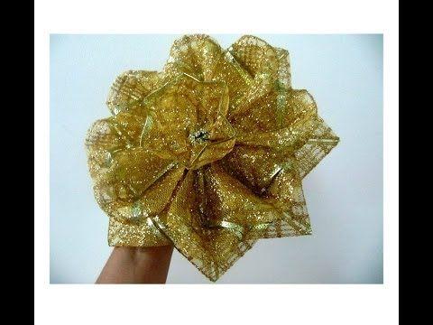 ▶ Moños navideños flores de caramelo escarchadas en cintas - YouTube