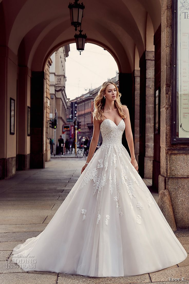 eddy k milano bridal 2017 strapless sweetheart neckline heavily embellished bodice pretty princess a line ball gown wedding dress sweep train (md217) mv