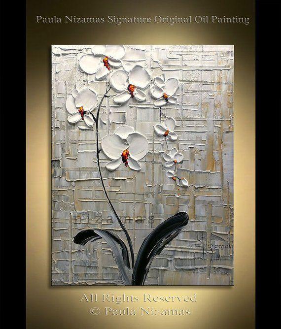 Orchideenursprüngliche malende abstrakte schwere mit Blumenbeschaffenheit durch handgemalte Grafik Nizamas
