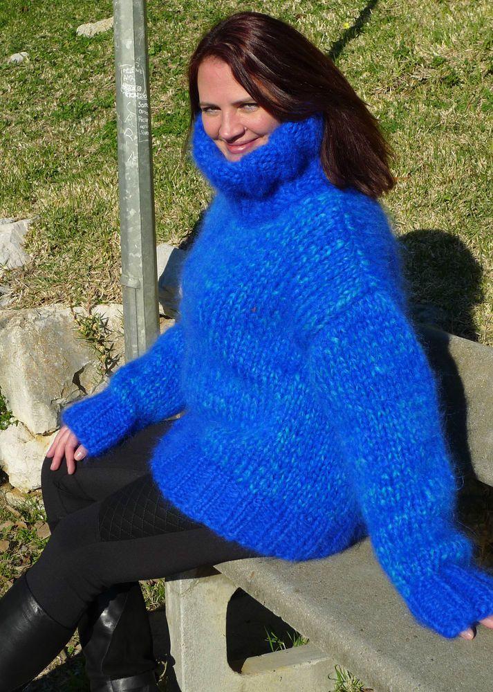 Blue Longhair Mohair Sweater Handmade Turtleneck by ...