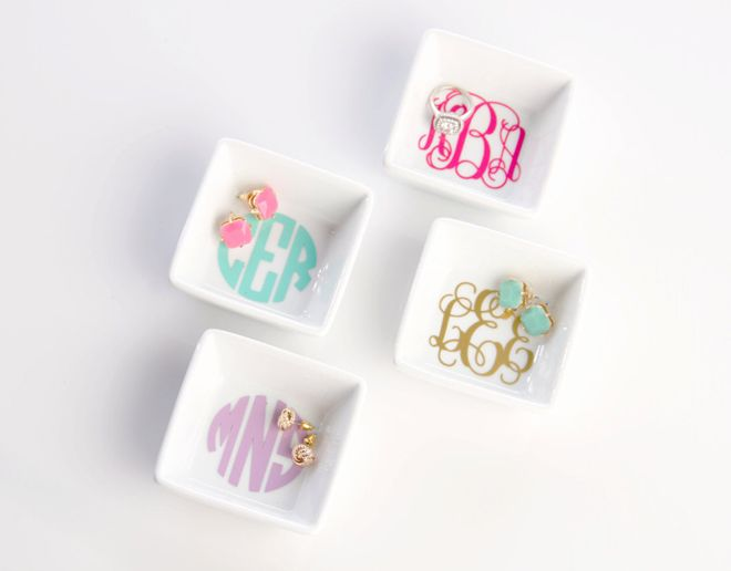 Monogram Jewelry Dishes - what a sweet bridesmaid gift this would be!  ~  we ❤ this! moncheribridals.com