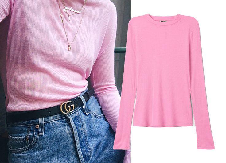 Veckans budgetkap är därför en riktigt rosa långärmad ribbad tröja. Och här kan vi snacka om 20 kr som lyfter hela garderoben och gör dig redo för SS17. Jag bär den med blåjeans, skinn, under skjortor och t-shirtar.