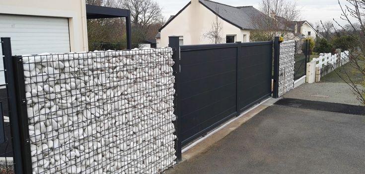 Portail + clôture grillage rigide + gabion