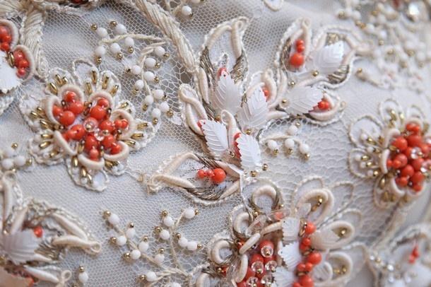 Detail of Balenciaga beaded ivory satin sleeveless sheath dress (Paris, early 1960s)