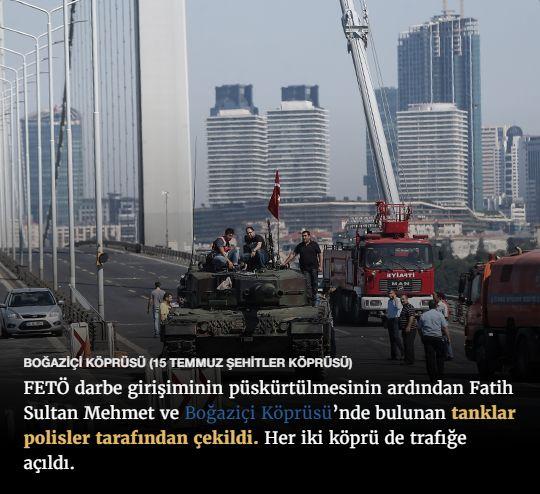 #15Temmuz Saat: 10:05 (Cumartesi)  BOĞAZİÇİ KÖPRÜSÜ (15 TEMMUZ ŞEHİTLER KÖPRÜSÜ)  FETÖ darbe girişiminin püskürtülmesinin ardından Fatih Sultan Mehmet ve Boğaziçi Köprüsü'nde bulunan tanklar polisler tarafından çekildi. Her iki köprü de trafiğe açıldı.