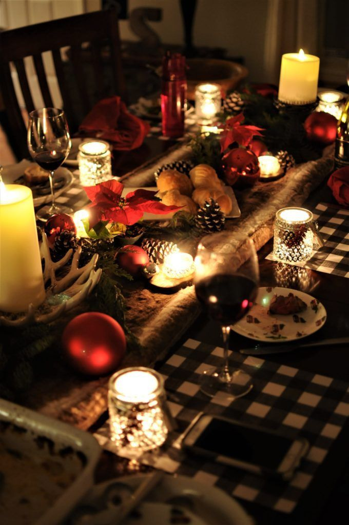 Rustic Christmas Table With Images Rustic Christmas Holiday Table Decorations Candle Light Dinner