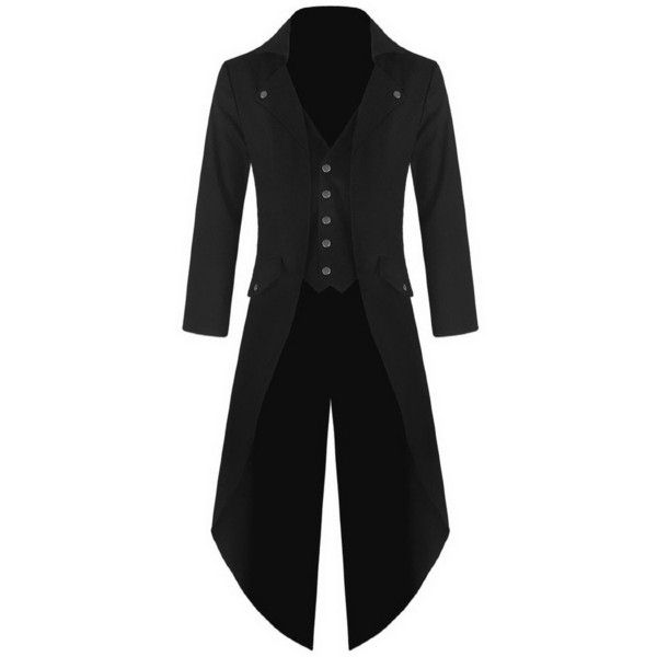 Mens Gothic Tailcoat Jacket Black Steampunk VTG Victorian Coat ($59) ❤ liked on Polyvore featuring men's fashion, men's clothing, men's outerwear, men's coats, black, coats, jackets, men, mens victorian coat and mens coats