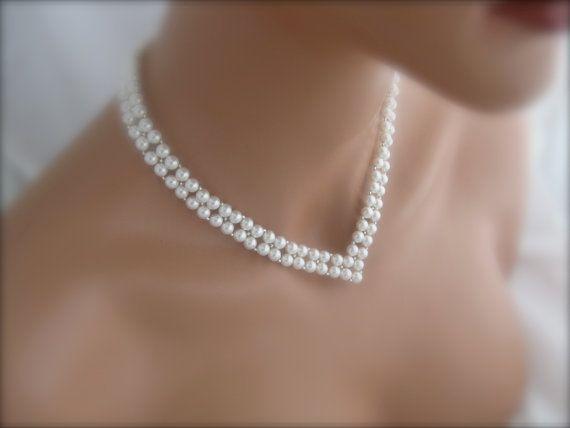 Bridal Pearl Necklace Wedding Jewelry Swarovski Pearl V Necklace