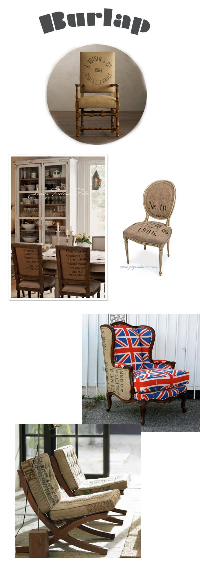 Burlap sack chairs, from The Art of Doing Stuff.
