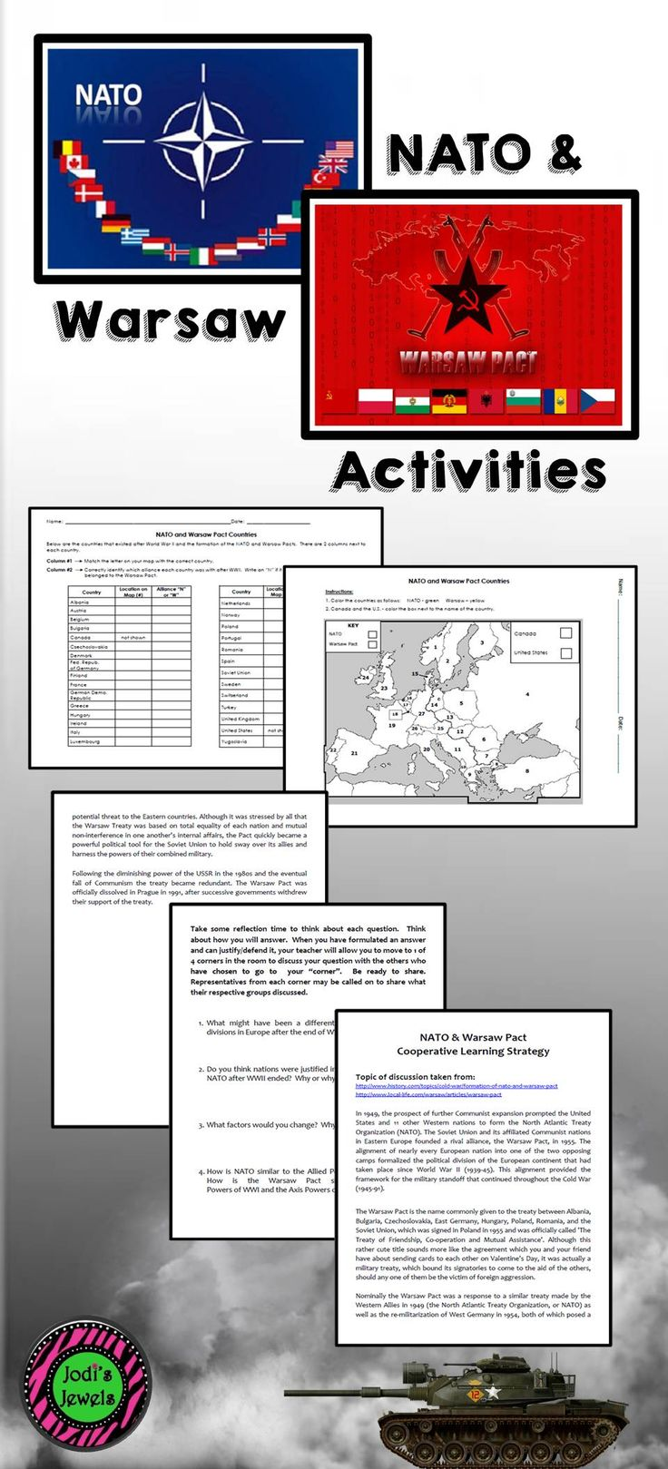 Activities include a 4 Corner Cooperative Learning Strategy that incorporates Bloom's Taxonomy questions about the NATO & Warsaw Pact political divisions at the end of WWII and a political map and data chart. Students will use the answers from the chart to color the political map of the NATO & Warsaw Pact countries.