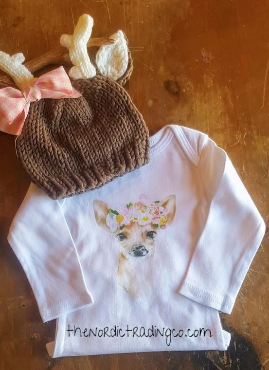 638c41b2584 Baby Girl s Doe Fawn Deer Watercolor Organic Cotton Bodysuit Onesie Plus  Hat Newborn 0 3 mo. Infant Girls NB Gift Sets Outfits Girls  Clothing Gifts  Antler ...