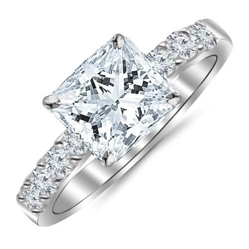 1.10 Carat Princess Cut/Shape 14K White Gold Classic Prong Set Diamond  Engagement Ring with