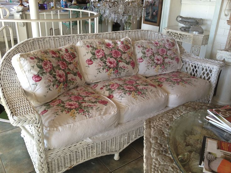 A GORGEOUS WICKER NOW IN MY FAMILY ROOM PLUS VINTAGE ROSE COVERED PILLOWS