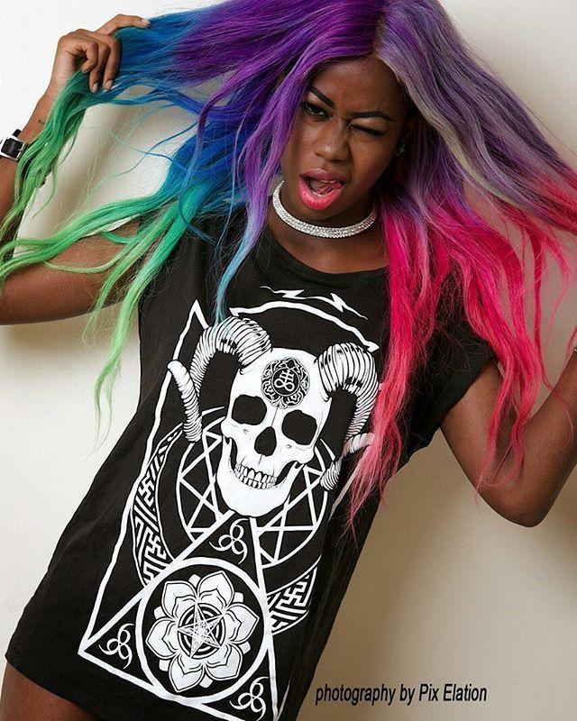 """Conspiring"" Women's Tee available at www.crmc-clothing.co.uk   WE SHIP WORLDWIDE  Model - @thehotcocoa Photography by Pix Elation  #vixen #raindowhair #pastelhair #alternative #pastelgoth #fashionstatement #pastelgothgirl #hairenvy #fashionista #pastelgothic #rainbow #alternativeblackgirl #blackmodel #blackgirlsrock #beautifulblackwomen #cute #instacute #beautiful #dailyfashion #styles #style #alternativegirl #alternativeteen #alternativeboy #instagrammers #instalike #instalove #igers #love"