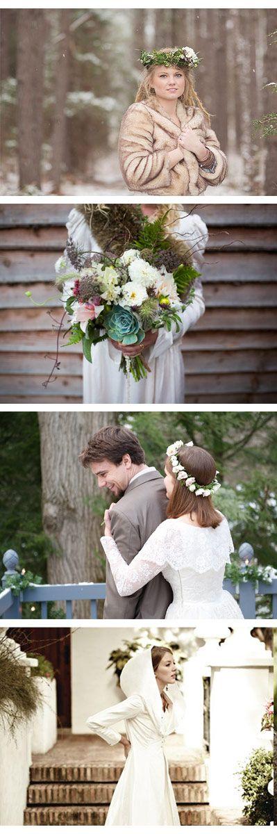 Novias de invierno. Mi favorita: la novia con capucha. Más ideas para una boda de invierno en el nuevo post de bodaplín #boda #invierno #novia #vestido