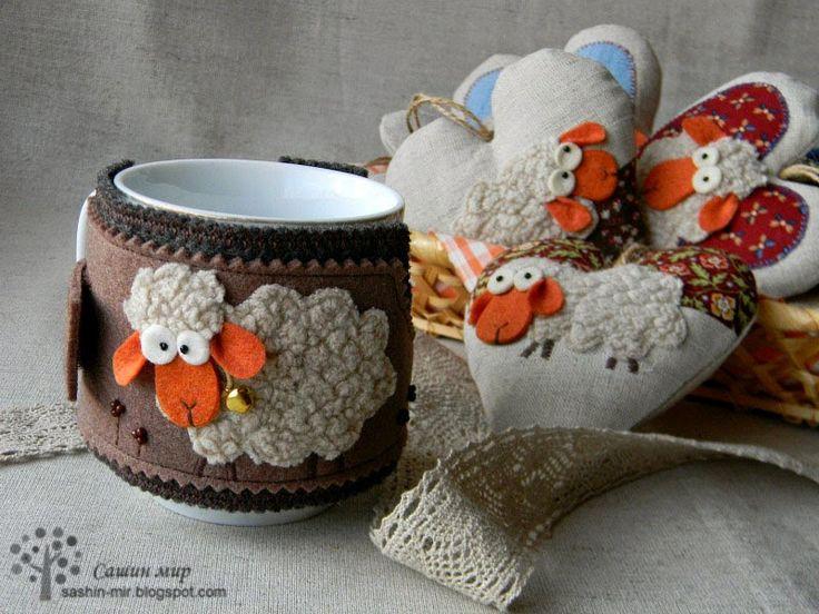 грелка для чашки, овечка