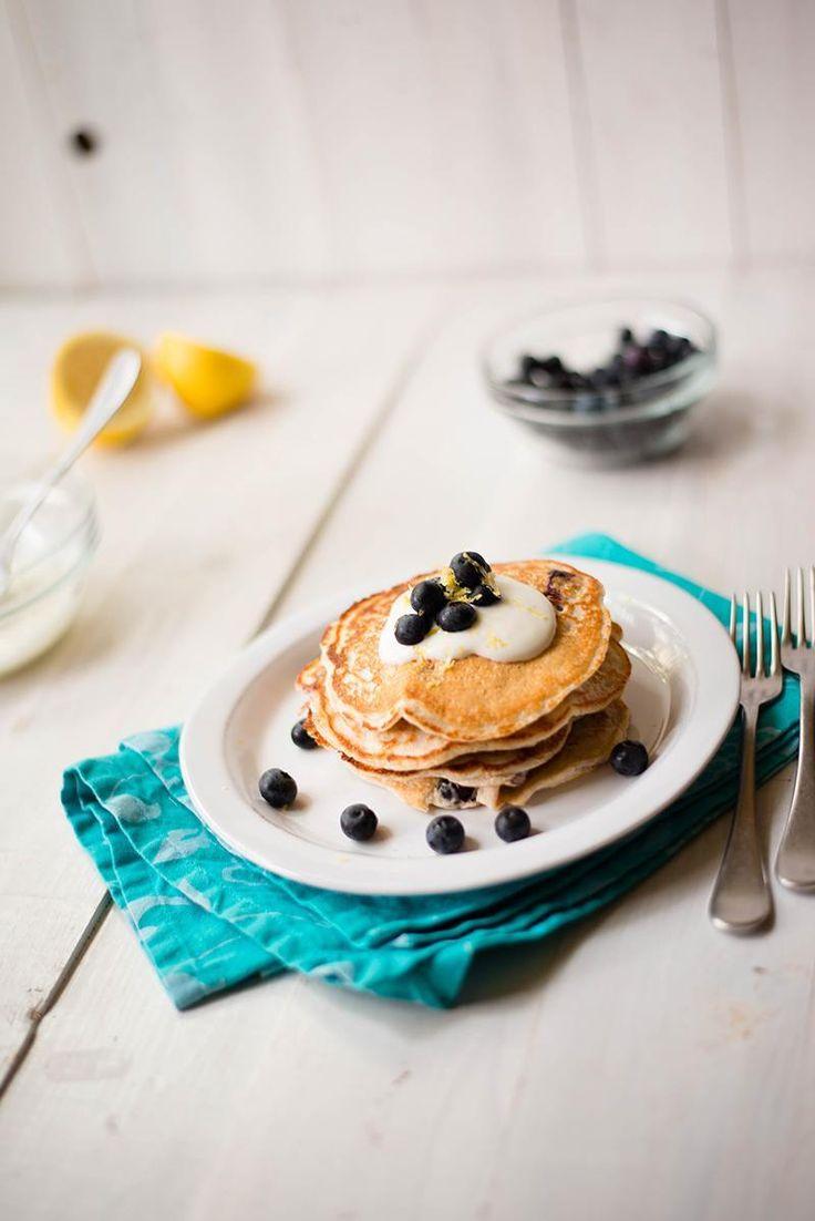 Lemon Blueberry Protein Pancakes recipe (Gluten-free, easily dairy-free)