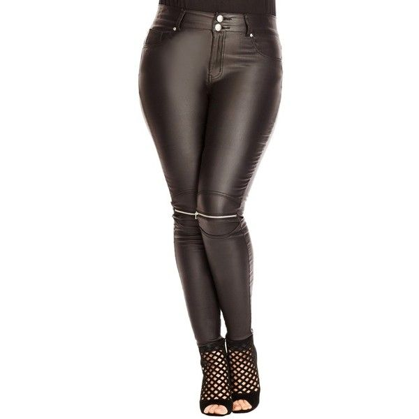 City Chic Wet Look Zip Knee Skinny Jeans ($89) ❤ liked on Polyvore featuring jeans, black, plus size, zipper jeans, skinny fit jeans, skinny jeans, shiny skinny jeans and plus size jeans