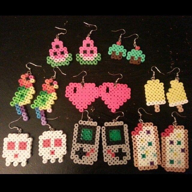 Earrings perler beads by nxohmissfriedxd