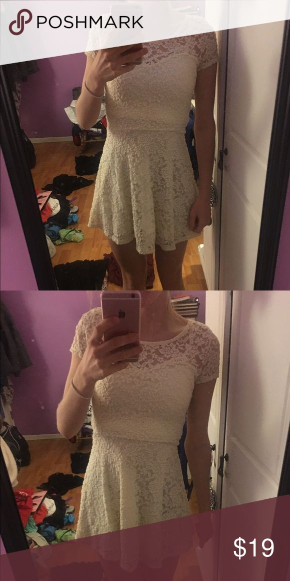 Wet seal cream lace skater dress Wet seal, lace and cream dress, worn twice Wet Seal Dresses Mini