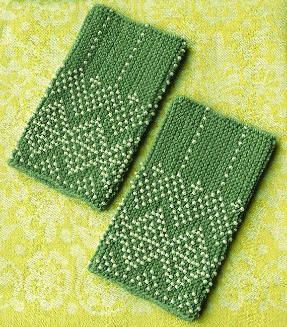 Mint green beaded wrist warmers by tiulia on Etsy