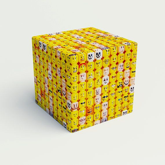 Smile Cube yellow ottoman cube lego funny cube playroom
