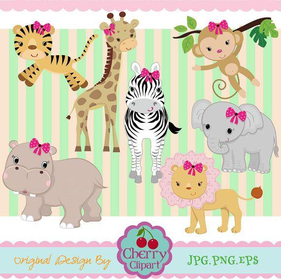 Девушки Jungle Animals Цифровой Набор Clipart 02 -Личные и коммерческого использования-бумажные игрушки, карты решений, скрапбукинга